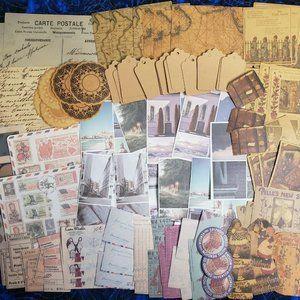 100 piece Scrapbooking Bundle Paper Crafts Travel Kids Books Vintage